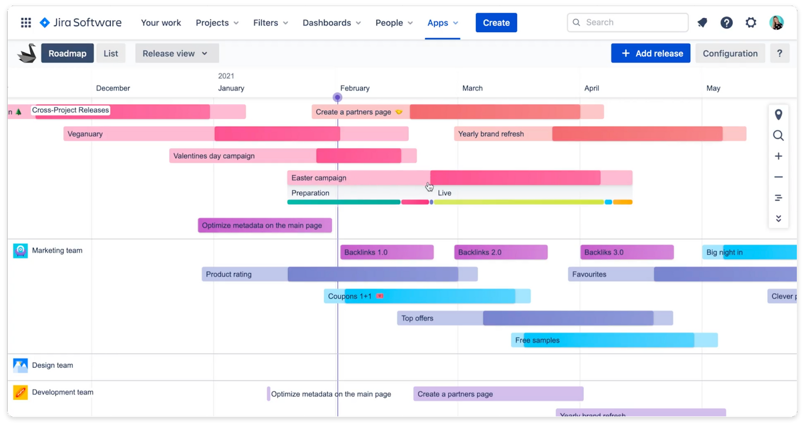 Swanly - Jira project management roadmap with stages