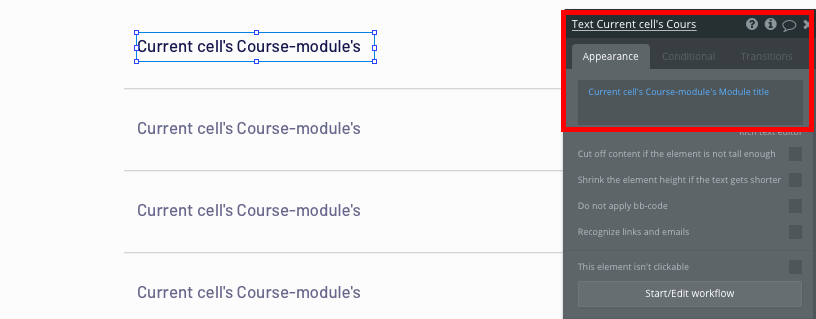 Displaying dynamic course titles in Bubble's no-code Udemy clone app