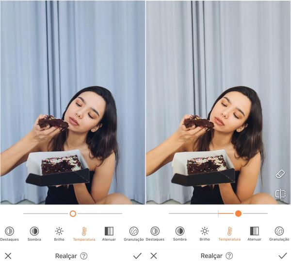 Mulher comendo um bolo de chocolate sendo editada pelo AirBrush com a ferramenta Realçar
