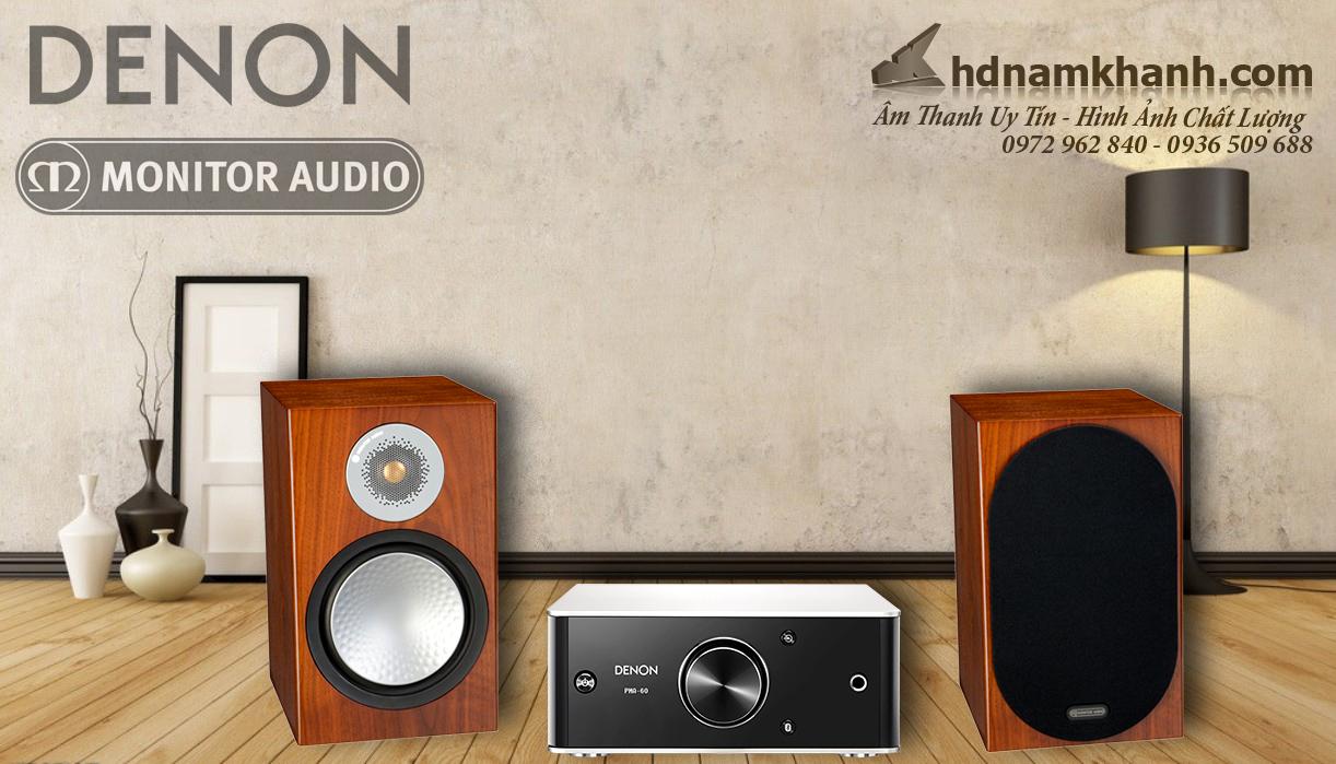 Bộ Hi-fi Mini Denon PMA60+Loa Monitor Audio Silver 100