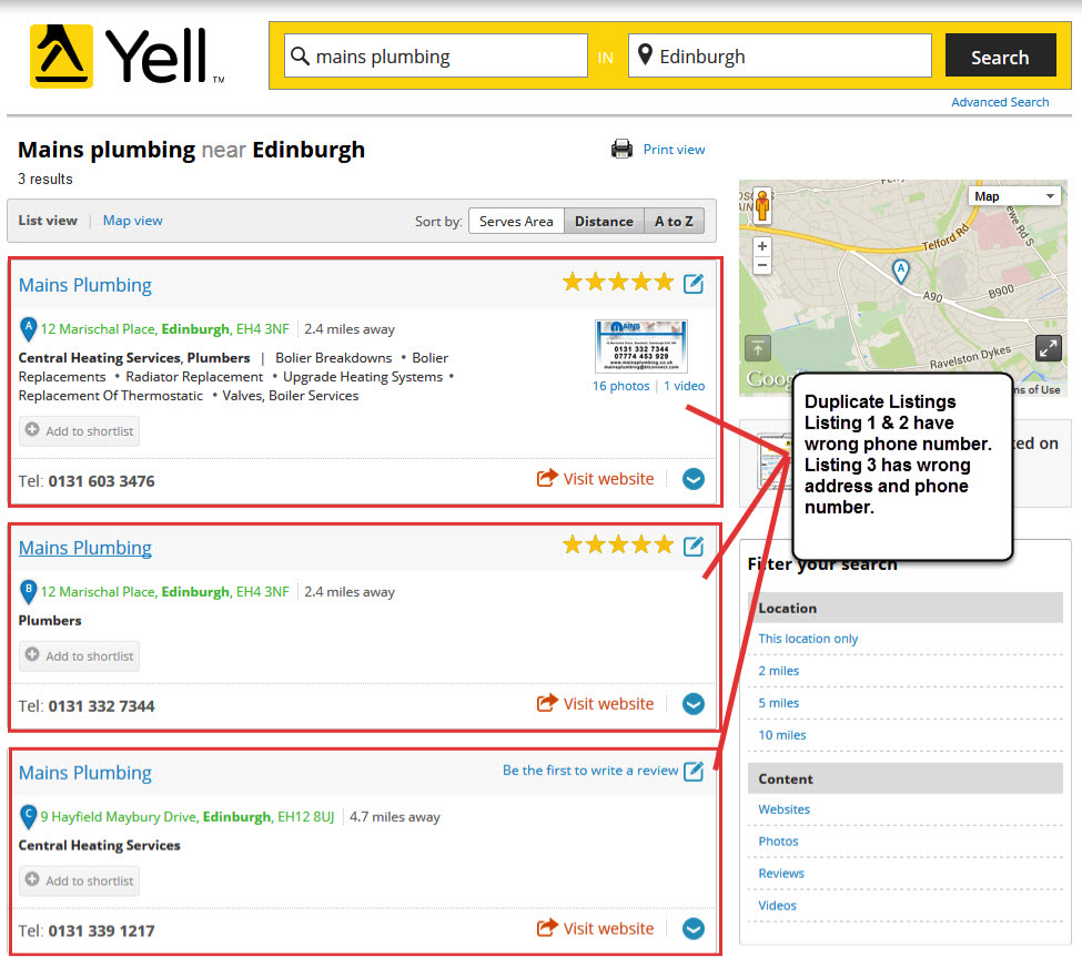 Yell directory listing