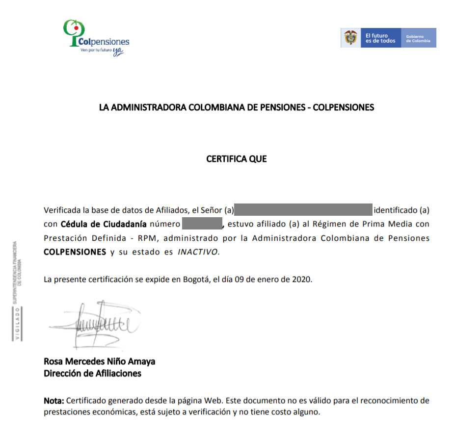 Descargar certificado de afiliación a colpensiones - ejemplo de certificado colpensiones