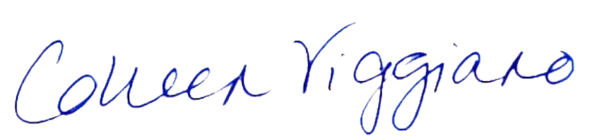 This is the signature of Colleen Viggiano, in blue ink.