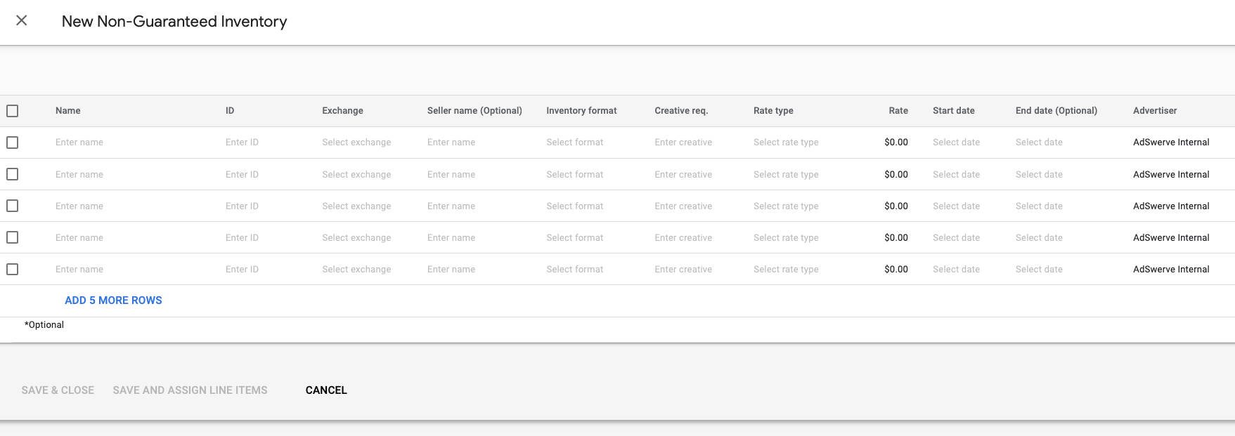 Examples of deals in DV360 dashboard
