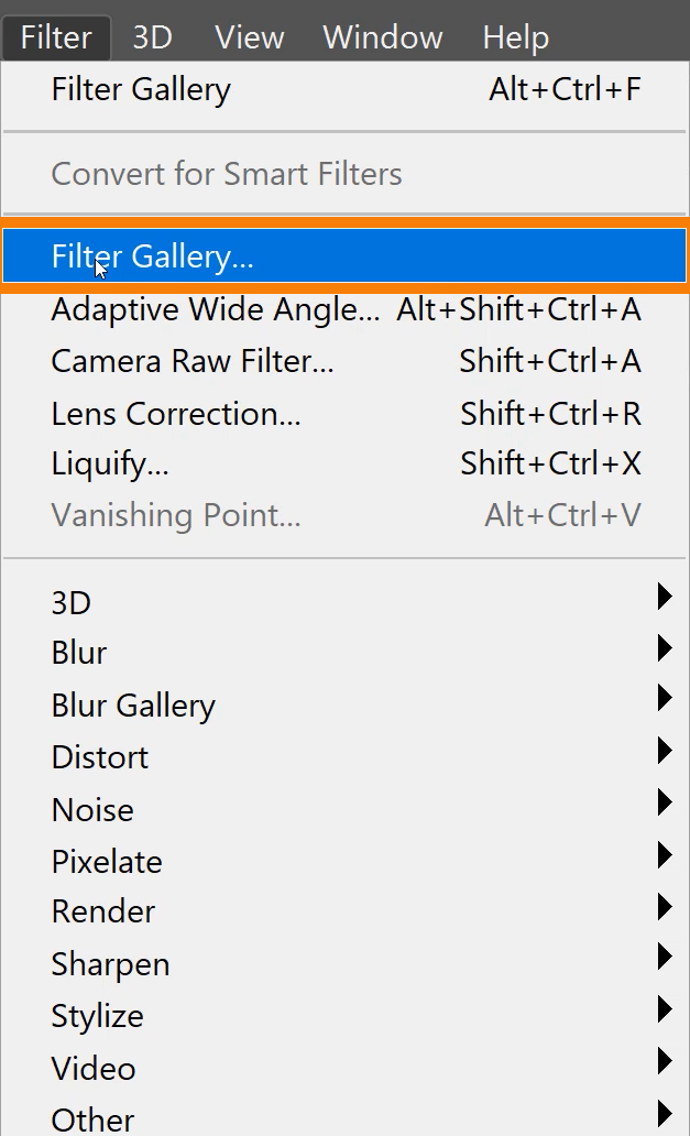 Choose Filter > Filter Gallery.