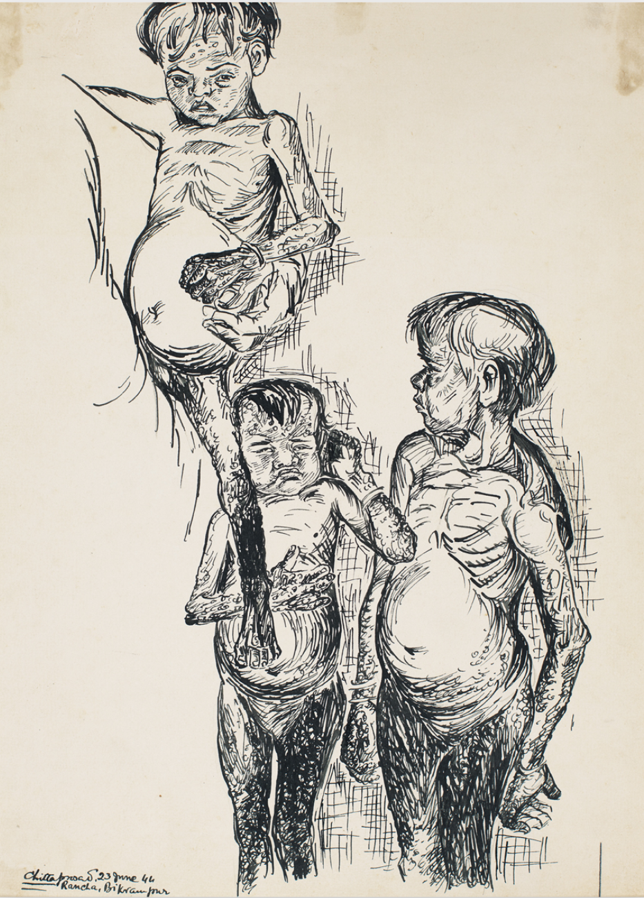 Ghare Baire Bengal Art Kolkata chittaprosad famine