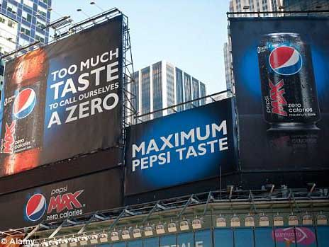 """Pepsi's billboards promoting PepsiMax, with the text """"Too much taste to call ourselves a zero"""" and """"Maximum pepsi taste"""""""
