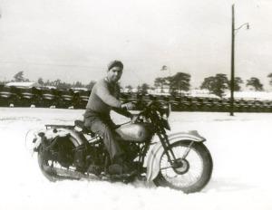 Joe astride his 61 cubic inch Harley-Davidson