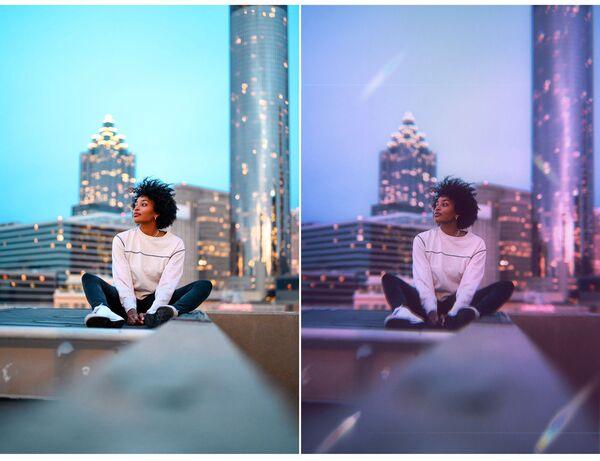 Mulher no terraço de um prédio