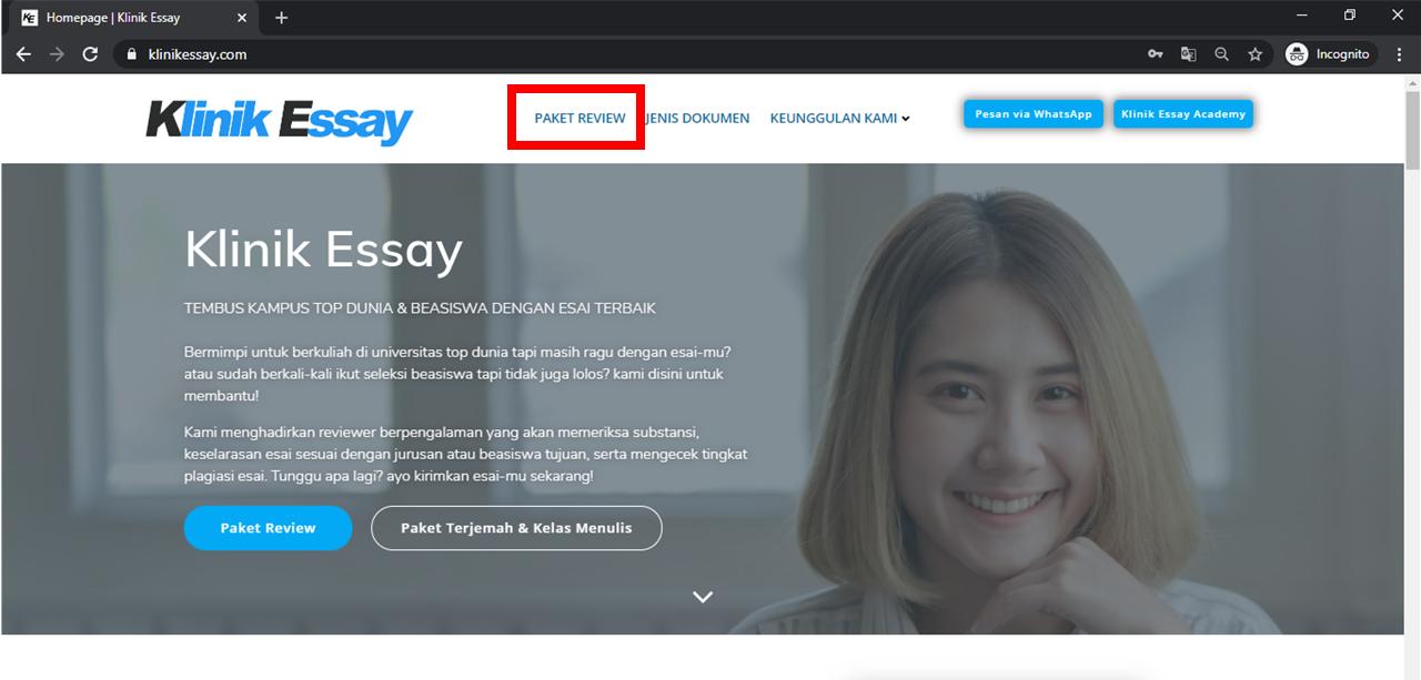 """laman utama klinikessay.com, klik pada tombol """"Paket Review"""""""