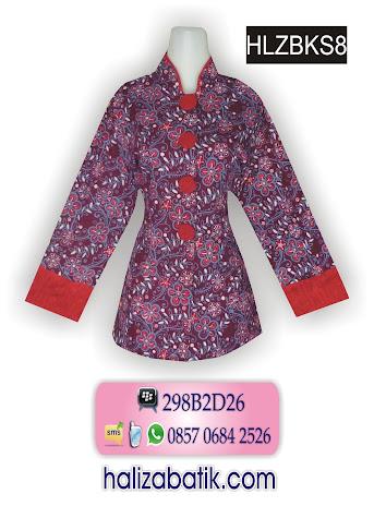 Model Baju Kerja Batik, Blus Batik, Baju Batik Kantor, HLZBKS8