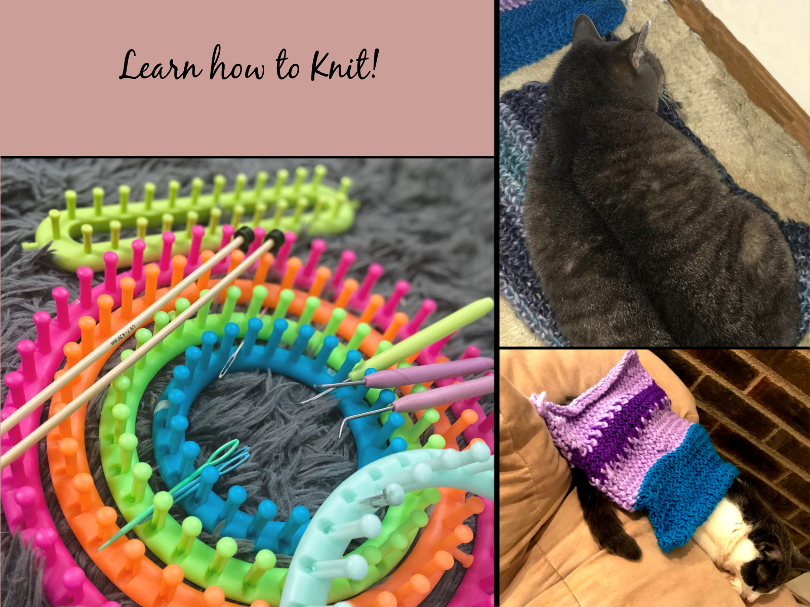 Knitting looms and traditional knitting project images DIY