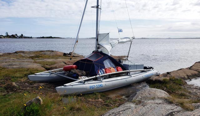 Парусный поход на Белое море в августе 2020 года на разборном надувном катамаране