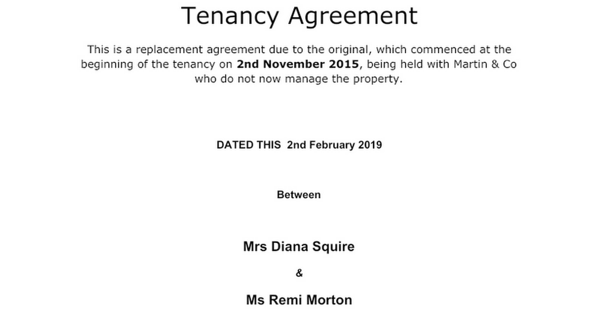 Tenancy Agreement Templatedocx Google Docs – Sample Tenancy Contract