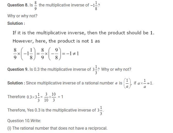 NCERT solution for class 8 Maths Chapter-1 Rational Numbers
