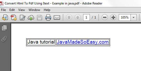 JavaMadeSoEasy com (JMSE): Convert Html To Pdf in java using iText