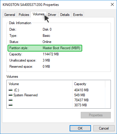 Disk Management: Showing the partition scheme of disk
