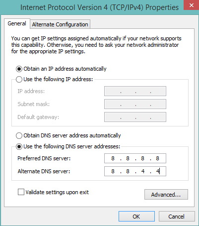 change DNS to Google DNS