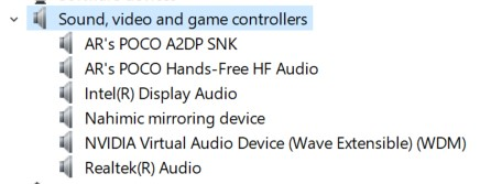 The Sound drivers in the Device Manager