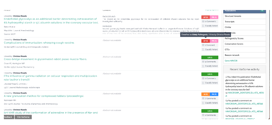 publications categorized by user