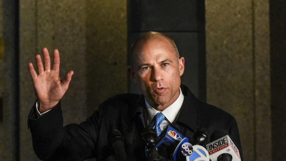 Michael Avenatti, the former lawyer for adult film actress Stormy Daniels' and a fierce critic of President Donald Trump, speaks to the media after being arrested for allegedly trying to extort Nike for $15-$25 million on March 25, 2019 in New York City.