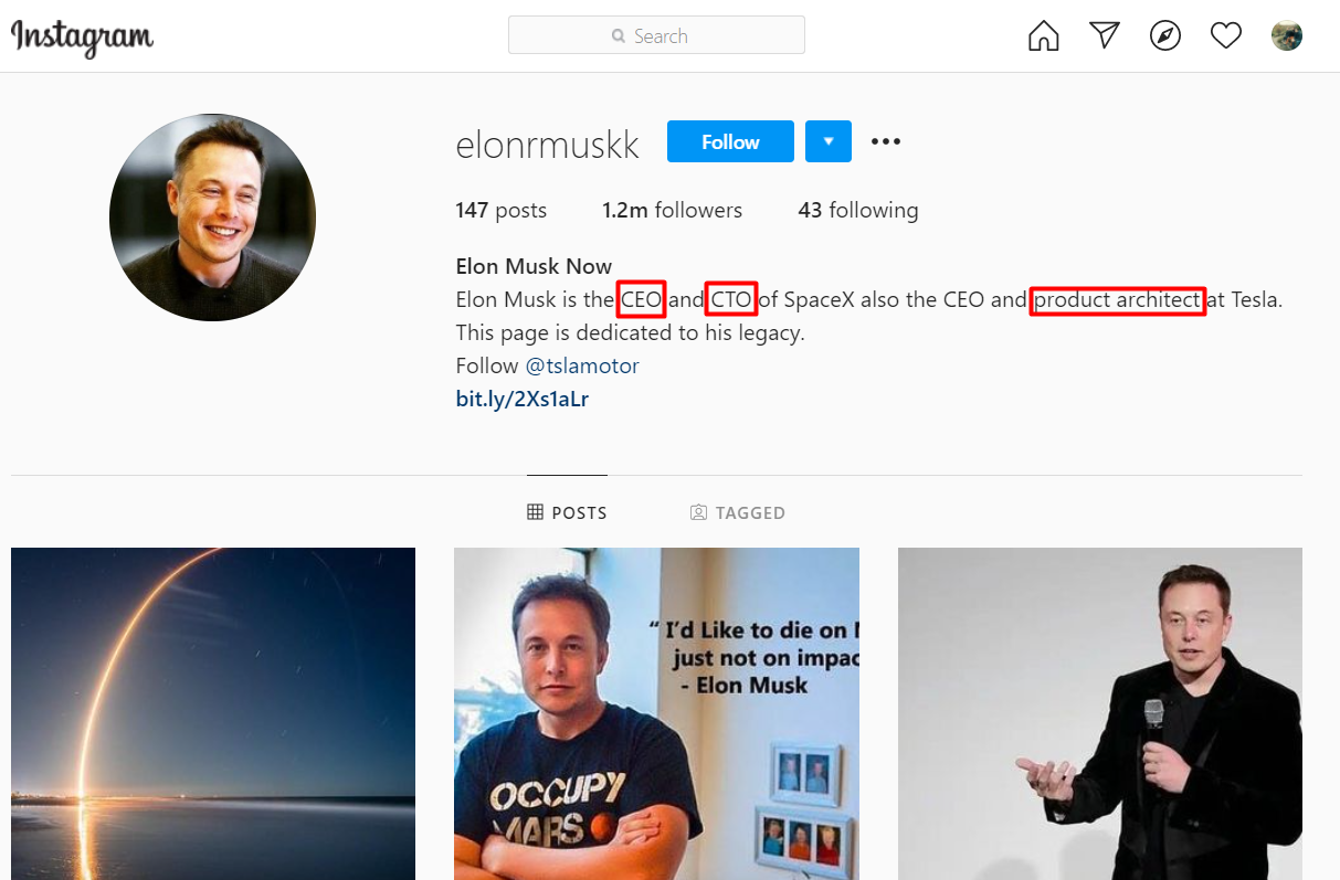 Find Elon Musk's Instagram Account by Email. Keywords that are included in his bio.