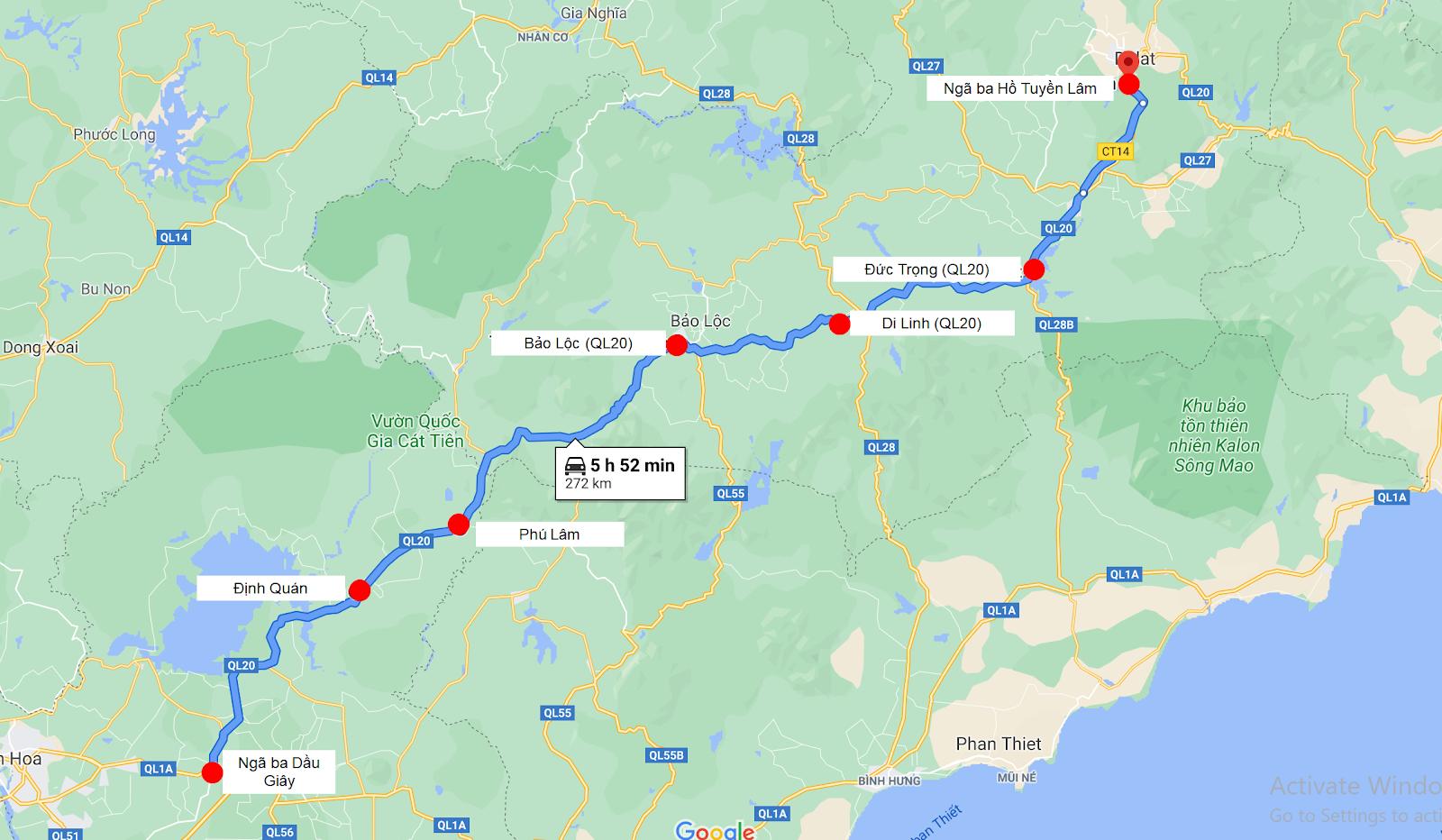 Các điểm đón/trả dọc đường của xe Nguyễn Kim
