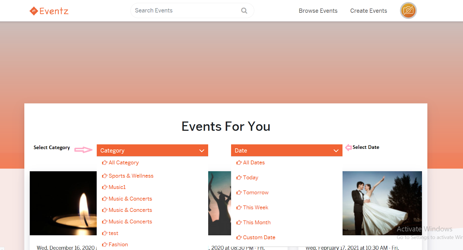 Browse Events