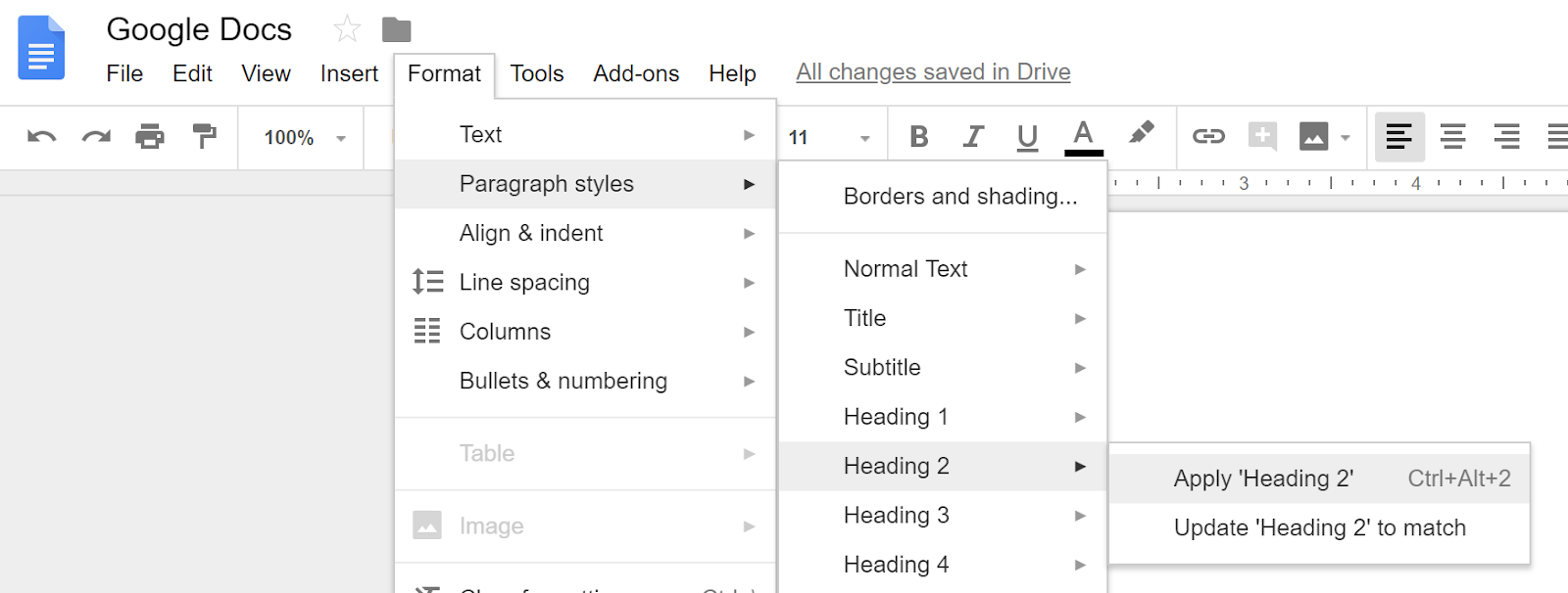 how to set paragraph styles in google docs