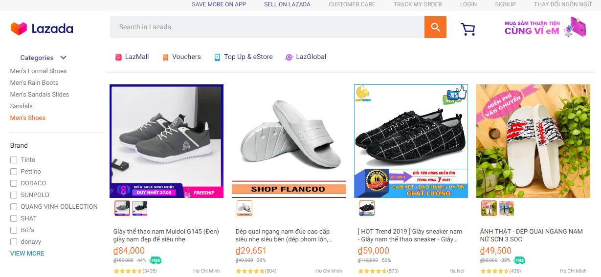 Ngành hàng thời trang giày nam của lazada