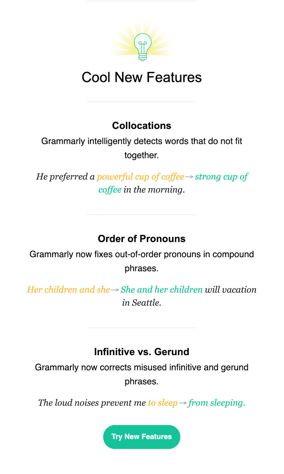 Grammarly email breakdown, welcome email sections, grammarly free