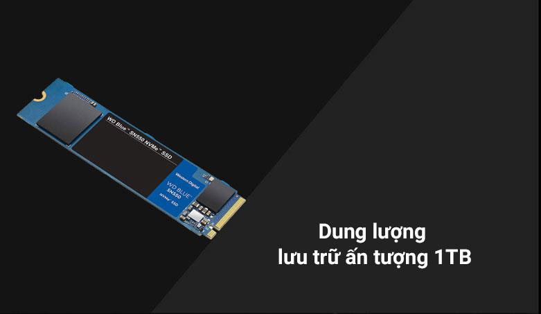 Ổ cứng SSD WD Blue SN550 1TB M.2 2280 NVMe Gen3 x4 (WDS100T2B0C) | Dung lượng lưu trữ ấn tượng 1TB