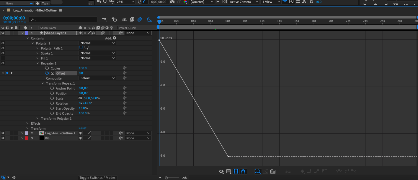 Screenshot of the Graph Editor in Adobe After Effects