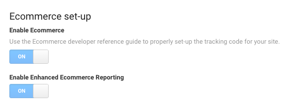 Screenshot of Google Analytic's Ecommerce set-up settings page