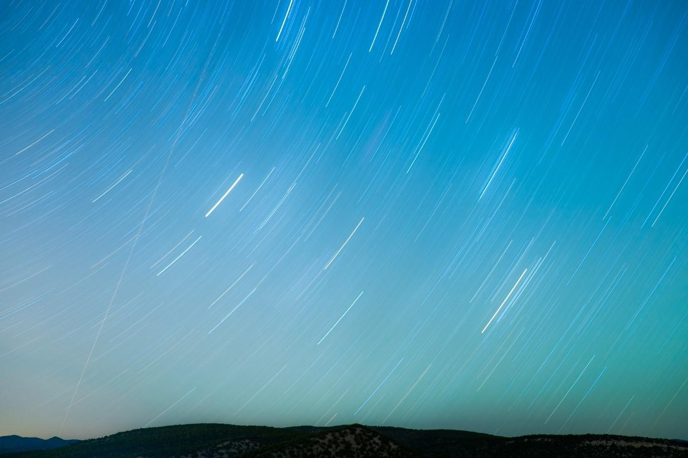 blue time lapse of stars