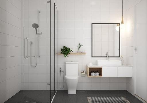 Phòng vệ sinh được tích hợp trong không gian phòng tắm