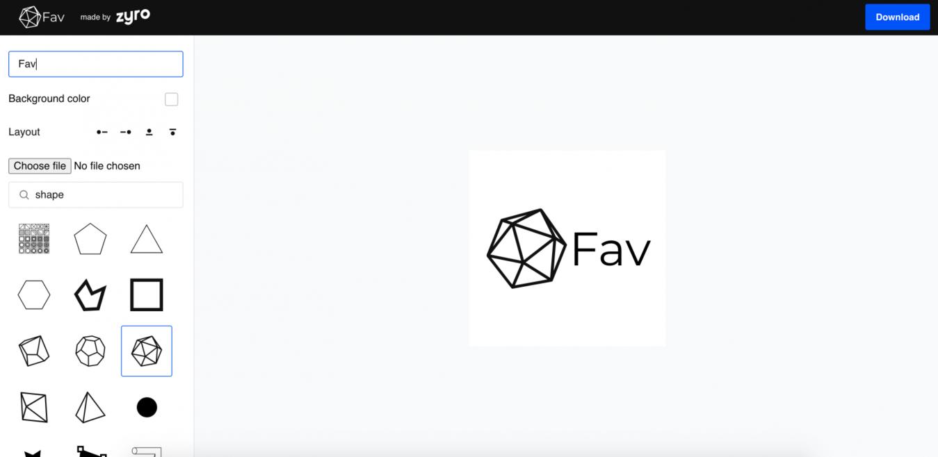 Screenshot von Zyro Favicon-Generator Tool