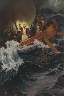 painting of Christ calming the sea of Galilee