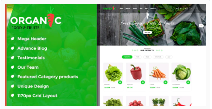 Vegitek - Opencart food store theme