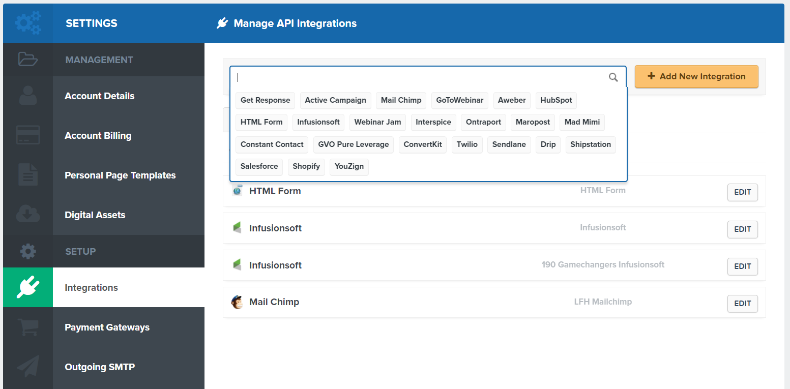 API intergrations.