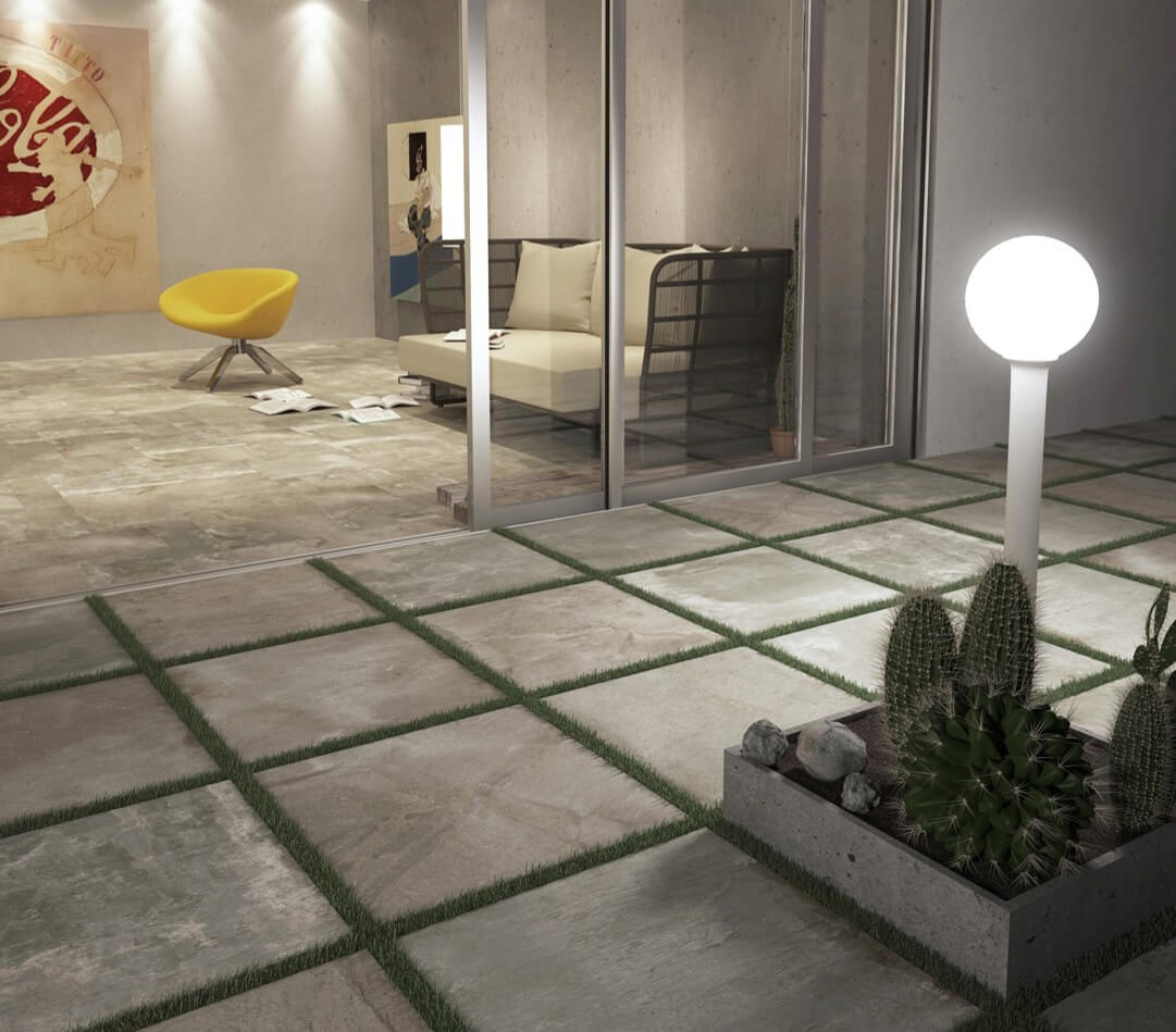 Concrete-look square tile pavers outdoors
