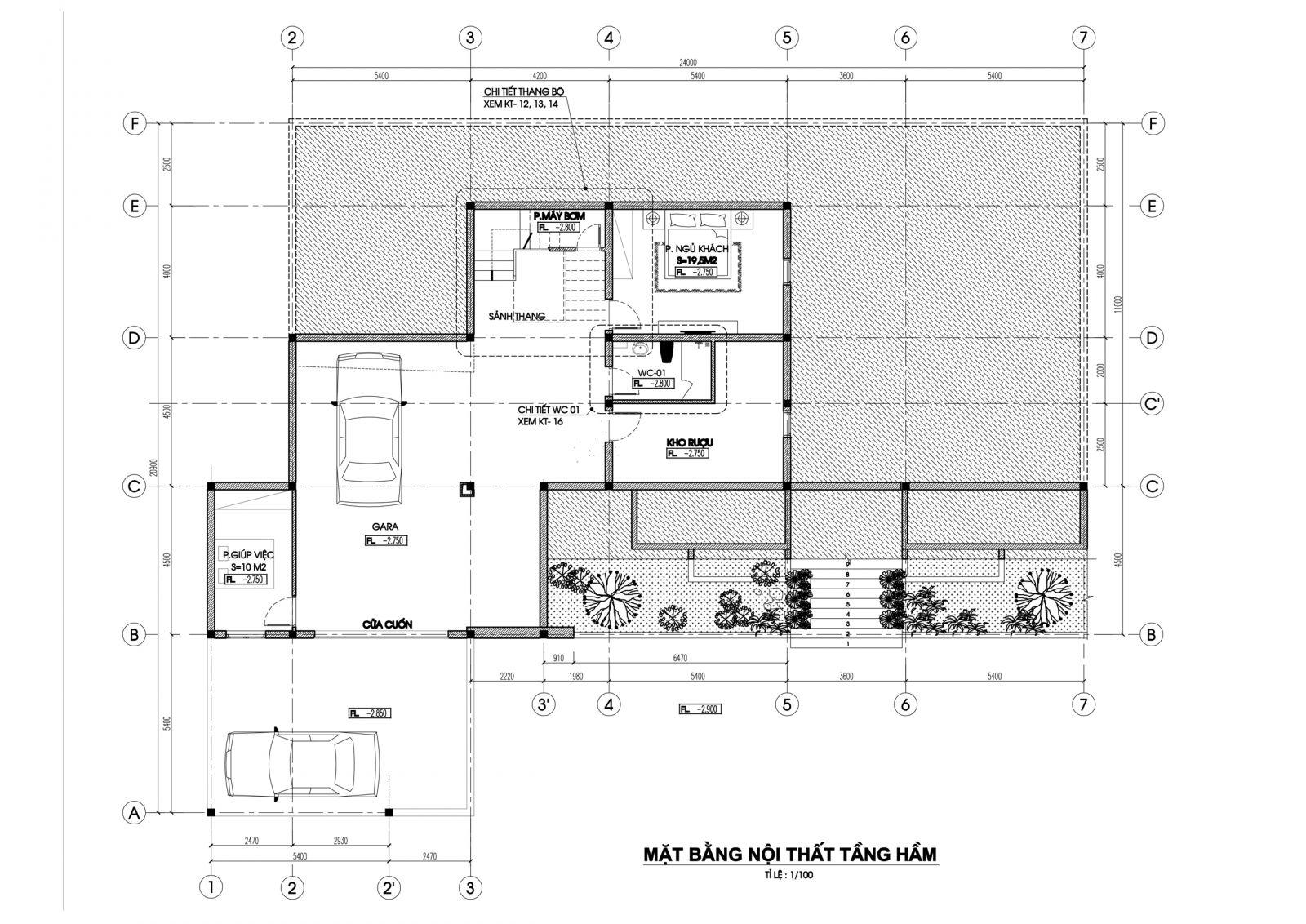Mặt bằng tầng hầm mẫu nhà biệt thự 2 tầng hiện đại