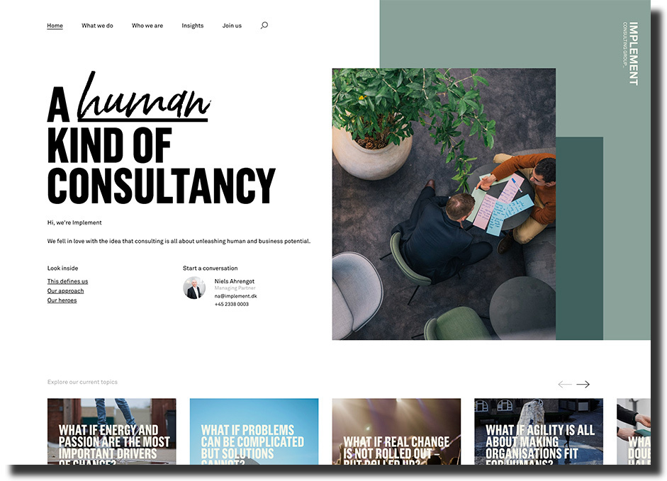Implement website is an excellent example of using a parallax effect consulting website design