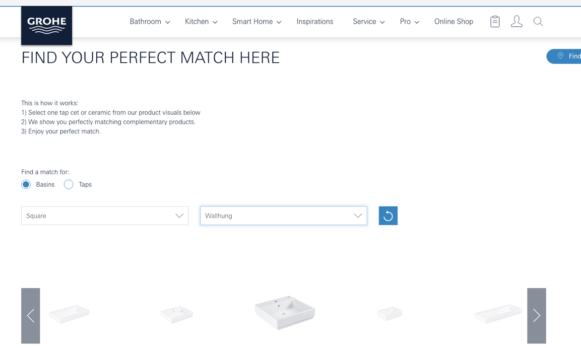 Example from Grohe - Content for the Bathroom sector - Evolved Search