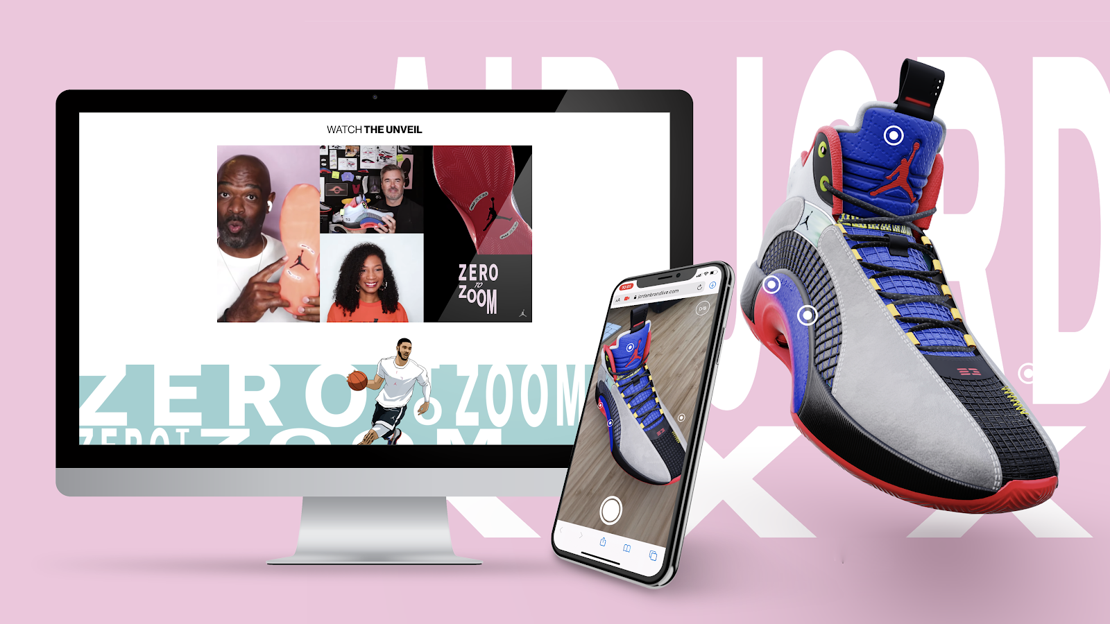 On a pink background, a grey, black, red, and blue Air Jordan shoe is shown. To its left, the shoe is shown on a mobile phone and on a computer screen.