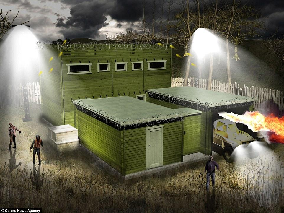 Zombie Fortification Cabin includes escape hatch, vantage point and weapons  | Daily Mail Online