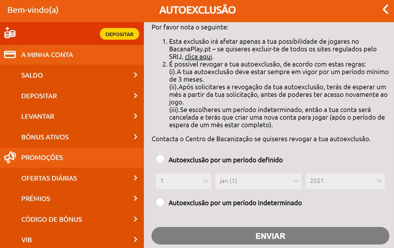 Autoexclusão no BacanaPlay