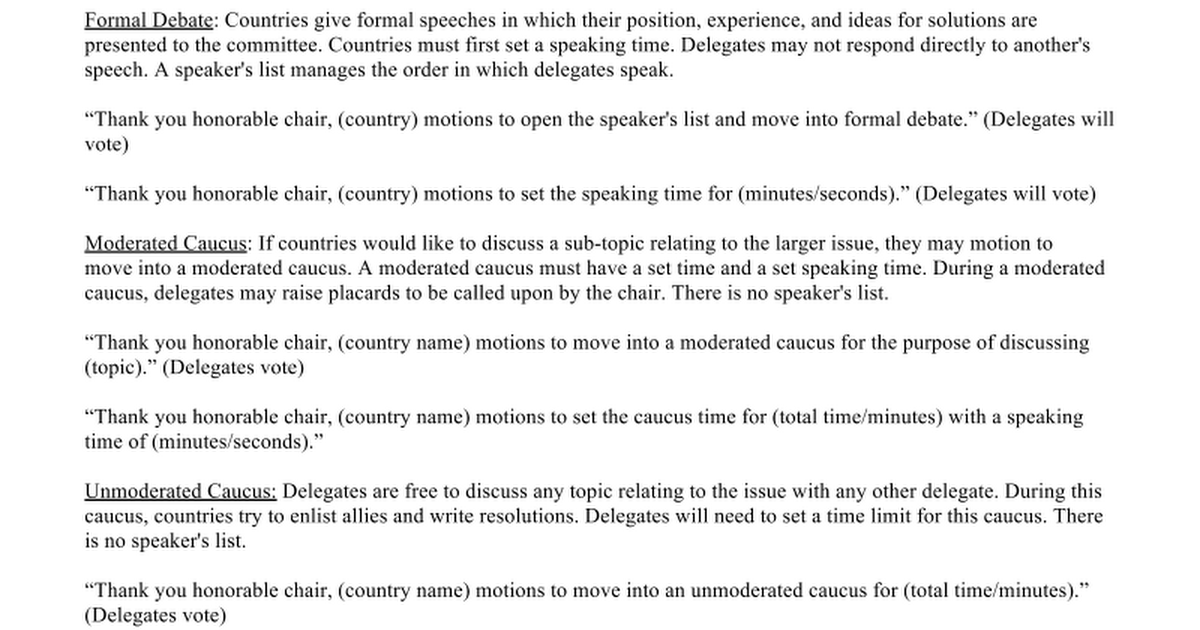 Mun debate format google docs for First speaker debate template