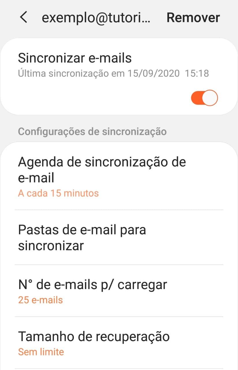 opção de remover conta de email do app samsung email