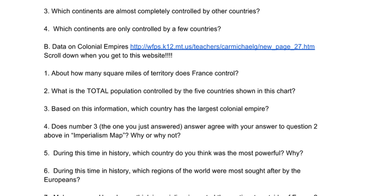 Imperialism Webquest Google Docs